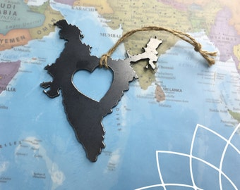Heart India Country Steel Ornament or Decoration