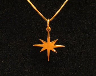 "Pure 24K Gold Vermeil Star Of Bethlehem with 18"" Vermeil Chain"