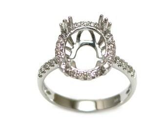 11x9mm Oval Diamond Ring Semi Mount in 14K White Gold (9329)*