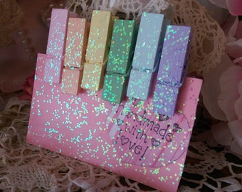 6 RAINBOW Refrigerator Magnets Handpainted and Glitter Clothespins-Pink, Orange, Yellow, Green, Blue, Lavender-Handpainted & READY to SHIP