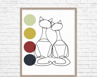 Mid-Century Modern Geometric Cats with Dots Print Art- Love-  Fine art Giclee Print, mother's day gift birthday thank you gift decor