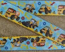 "3 yards  Yellow Truck ribbon construction ribbon Dumptruck Ribbon construction grosgrain ribbon 1"" truck ribbon"