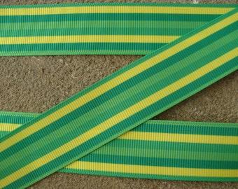 """green Ribbon 1"""" Light Green and Green stripes ribbon Printed Grosgrain Ribbon 3 yards Hair Bow Ribbon"""