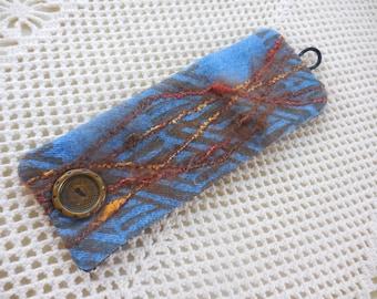 Vintage Denim Cuff, 1980's metal button, variegated slub yarn, vintage jean jewelry, denim bracelet, denim jewelry, for 5 1/2 inch wrist