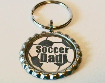 Fun Soccer Ball Soccer Dad Father Metal Flattened Bottlecap Keychain Great Gift
