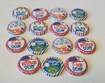Fun Set of 15 Baseball T Ball Themed Baseball Sister 1 Inch Flat Back Embellishments Buttons Flair