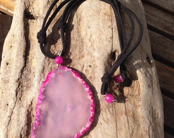 Pink Dyed Agate Pendant Necklace