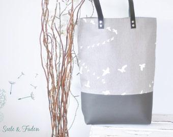 LIVA - the small shopper / great birds on grey
