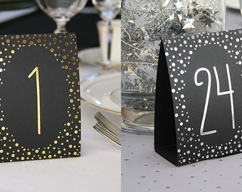 1-40 x Table Numbers Tent Style Wedding Party Table Decorations Polka Dot Reception Supplies & Plastic Table Numbers 1-20 Tent Style Numbers Various Color