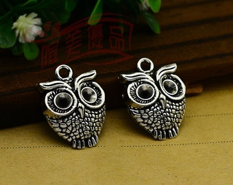 10pcs 23x17mm Antique silver lovely owl pendant charm