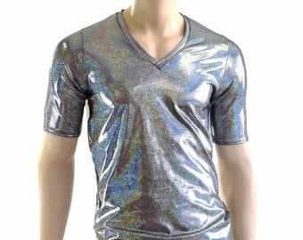 Mens Silver Holographic V Neck Top with Short Sleeves Mens Rave or Festival Shirt 152375