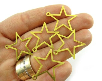 50 Raw Brass Star Charms, Star Findings, High Quality Raw Brass Findings