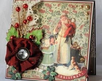 Vintage Santa Greeting Card, Handmade Card, Layered Card