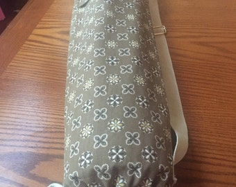 Yoga sports mat bag with adjustable strap and pocket khaki and cream