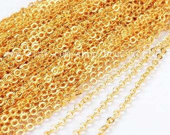 Gold Plated Finished Chain Necklace Jewelry Finding Golden Flat Cable Chain Losbter Clasp Lead Nickel Free Gold Plated Copper