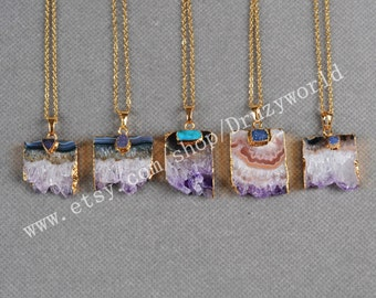 Wholesale Gold Plated Natural Amethyst Druzy Slice Necklace With Little Rainbow Agate Druzy Necklace Drusy Gemstone Amethyst Jewelry G0145-N
