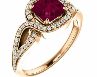 Rhodolite Garnet, White Diamonds 14K Rose Gold