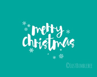 CHRISTMAS CARDS Digital // Merry Christmas //  5x7 // 3 Colours Colors // Instant Download