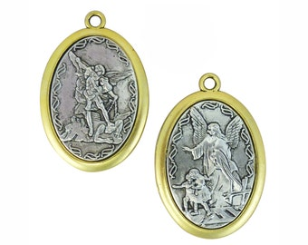 1 pcs - Silver Guardian Angel and St Michael Pendant with Gold 48x32mm - Ships from Texas by TIJC - SP1087