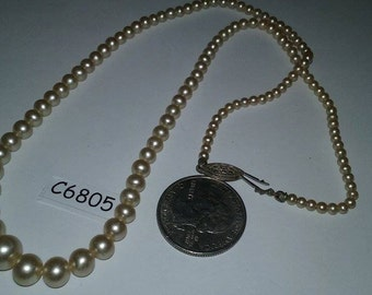 Vintage Sterling Silver signed pearl necklace c6805