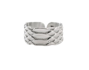 Python skin embossed silver massive S ring