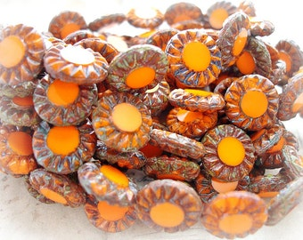 6 Rustic Orange Sunflower Beads 14 mm