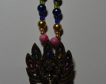 Peacock Pendant Bead Necklace