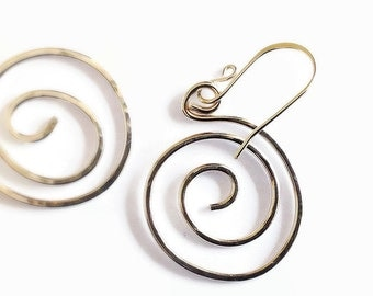 Forged Sterling Silver Hoop Earrings, Handcrafted Metal Jewelry, Gift for Friend, Minimalist Earrings, Recycled Silver, Artisan Jewelry