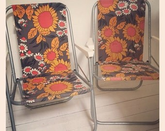 Pair of Retro 1970's Camping Deck Chairs