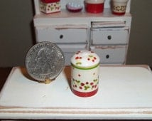 "Dollhouse Miniature Kitchen Cookie Jar / Canister - ""Strawberry Vines"""