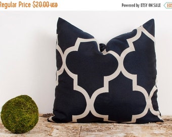 SALE ENDS SOON Navy Blue and Cream Quatrefoil Pillow Case, Custom Pillow Covers, Modern Fabric Pillows, 18 x 18