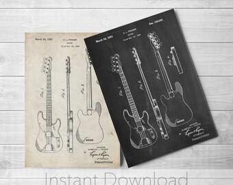 Fender Precision Bass Guitar Printables, Bass Blueprint, Fender Guitar, Bass Guitar Patent, PP0008