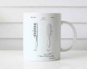 Wooden Hair Brush 1933 Patent Mug, Vintage Hair Brush, Girls Room Mug, Vanity Decor, Hair Salon Mug, PP0352