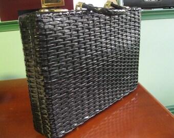 1950's Very Large Vintage Black Wicker Handbag or Briefcase