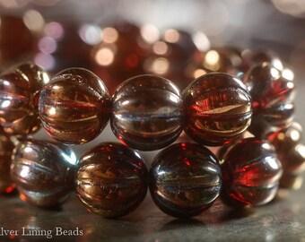 Baroque Melons  (15) - Czech Glass Bead - 8mm - Melon