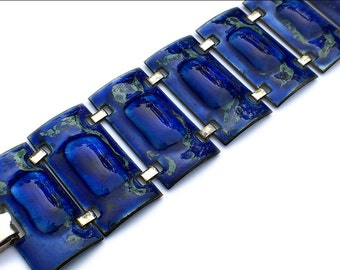 Kay Denning Enamel Bracelet Midnight Blue Mid Century 1960s Signed Vintage Jewelry