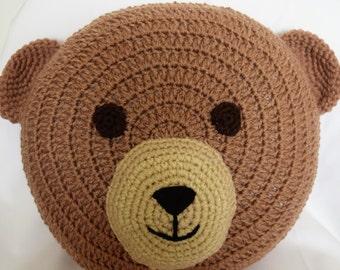 Teddy Pillow / Bear Pillow / Crochet Teddy Pillow / Teddy Cushion / Bear Cushion / Crochet Animal Pillow / Animal Decor / Nursery Room Décor