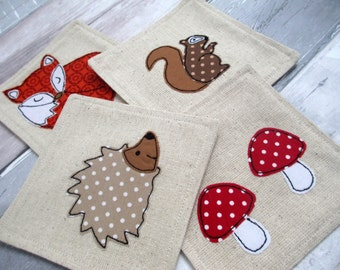 Animal Coasters - Set of 4 Woodland Coasters - Fabric Coasters - Fox Hedgehog Squirrel Toadstool - Gift For Her - Embroidered Coasters