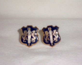 1950s Vintage Jewelry Cuff Links made by Swank with Lions and Halberd Renaissance type Design