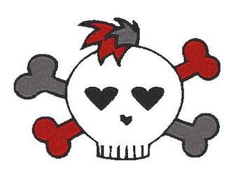 Mohawk Skull embroidery File, Punk Rock Skull Design, Sewget2thepoint, Skull n Crossbones embroidery, mini embroidery designs, small designs