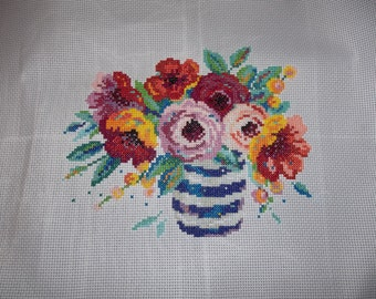 Completed Cross Stitch - Country Cottage Style Vase of Flowers