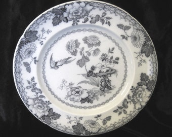 Antique Masons Ironstone Dinner Plate, Persiana, Monochrome Transfer Print, Garden with Flowers and Bird