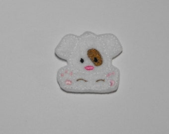 White Puppy Dog with Tan Spot felties, feltie, Machine embroidered, felt applique, felt embellishment, hairbow center