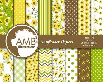 Sunflower digital papers, Floral papers, Sunflower Scrapbook papers, Reds, Yellows and Green Floral Papers, Commercial use, AMB-1428
