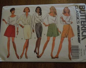 Butterick 6287, sizes 6-12, petite, misses, womens, teens, skirt, shorts, UNCUT sewing pattern, craft supplies