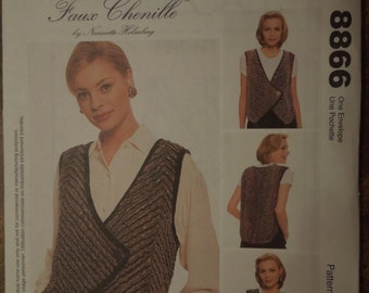 Faux Chenille Vest, UNCUT sewing pattern, craft supplies, McCalls 8866, sizes small to XLarge, misses, womens
