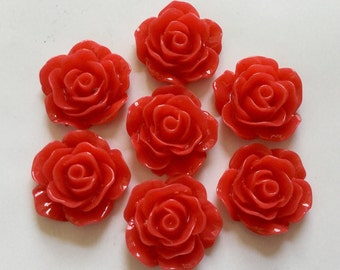 8 pcs 19 mm hot Red Cabochon flower,Red rose cabochon,19 mm Red rose cabochon,crimson resin flower,grey rose flower, flower kit,crimson rose