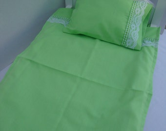 18 Inch Doll/4 Piece Green Sheet Set/Bottom Sheet with Mattress Pad/Top Sheet/Pillow Case/Pillow/Timmed with Lace and Ribbon