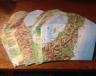World Atlas Map Envelopes - Set of 18
