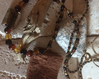 Amber and Black Beaded Necklace